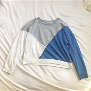 Color Block White, Grey & Blue Sweatshirt
